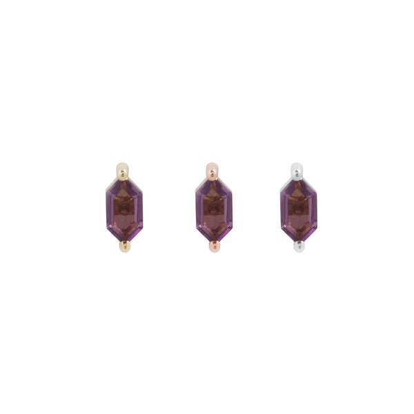 Oh My My - Hex Cut Amethyst - Threadless End Piercing Jewelry