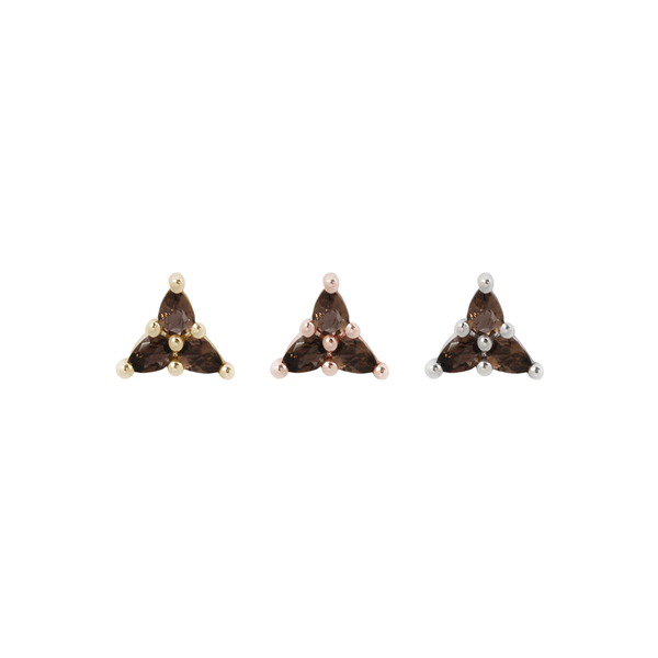 3 Little Pears - Smokey Quartz - Threadless End