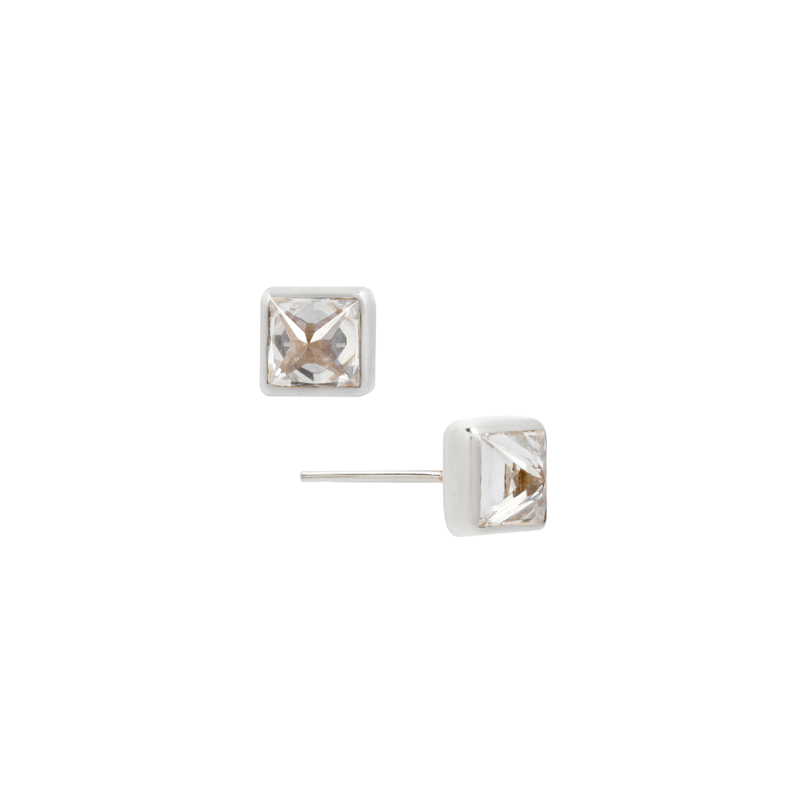 Princess Cut Reverse Set CZ earrings in white gold