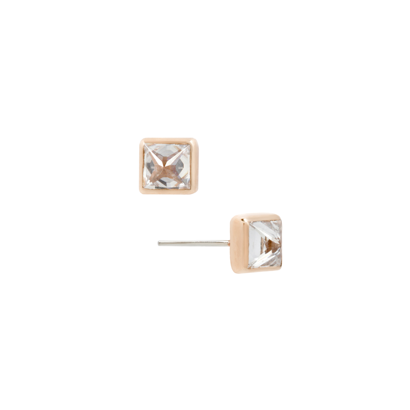 Princess Cut Reverse Set CZ earrings in rose gold