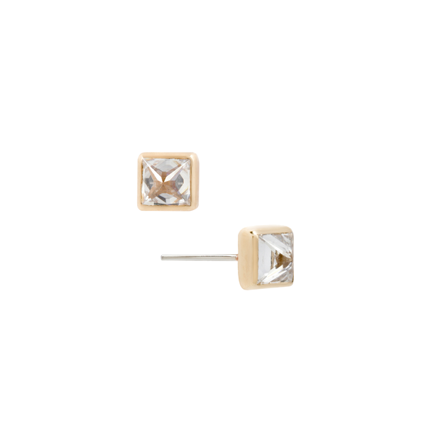 Princess Cut Reverse Set CZ earrings in yellow gold