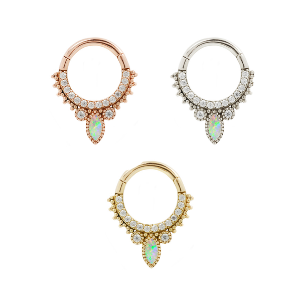 Airelle - Solid 14kt Gold + Opal Clicker