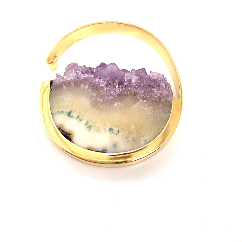 Muse Hoops - Yellow Gold + Amethyst Crystal Medium