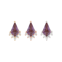 Solid gold amethyst earrings for piercings