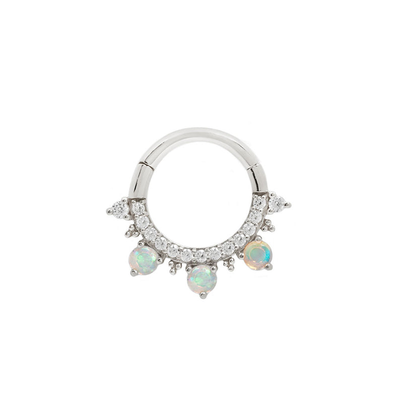 Gigi Opal + CZ White Gold Clicker