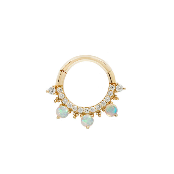 Gigi Opal + CZ Yellow Gold Clicker