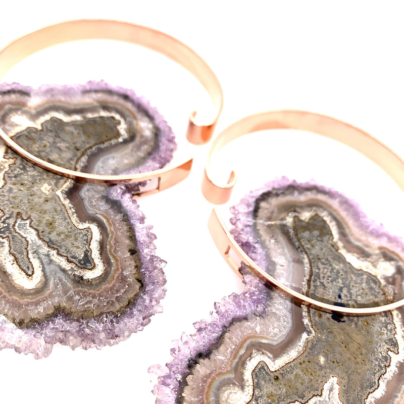 Halo Hoops XL - Amethyst + Rose Gold C4