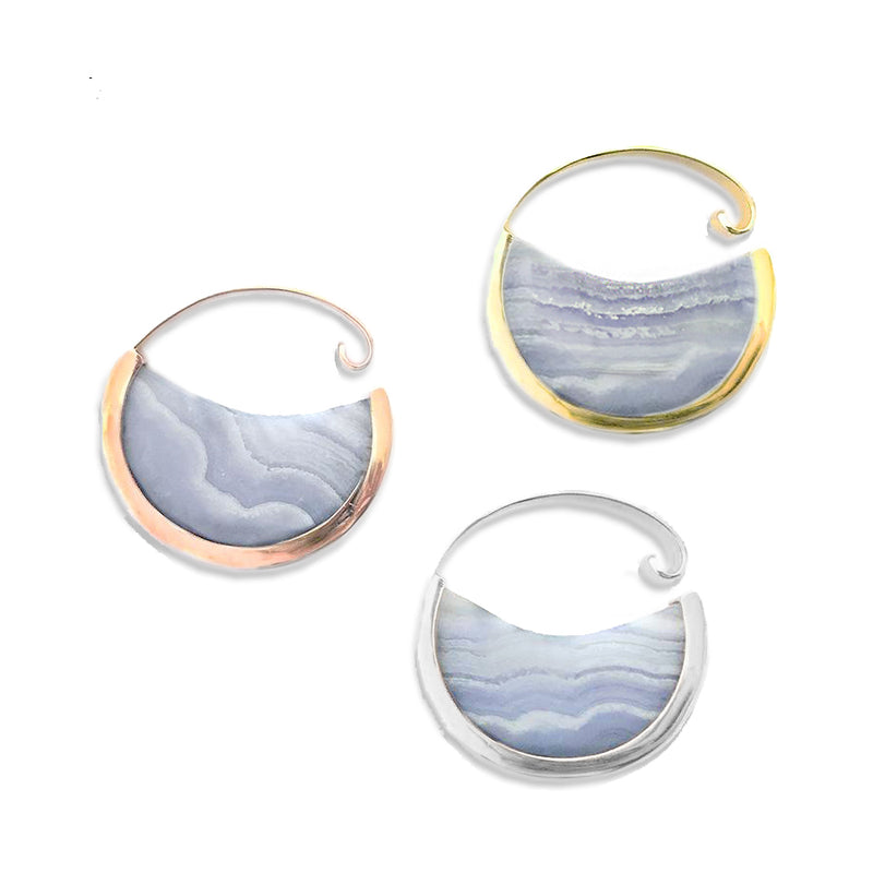 Muse Hoops - Blue Lace Agate + Gold Plated - Small