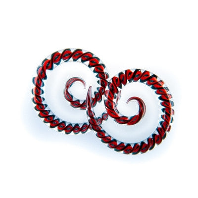 Red & Black Twist Glass Super Spiral