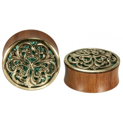 Althea in Brass Turquoise Inlay Plug