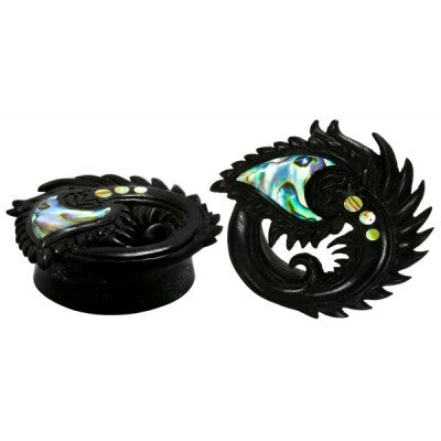 Peacock Plug in Wood with Abalone Inlay