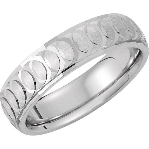 14K White 6 mm Overlapping Circle Pattern Band Size 12.5