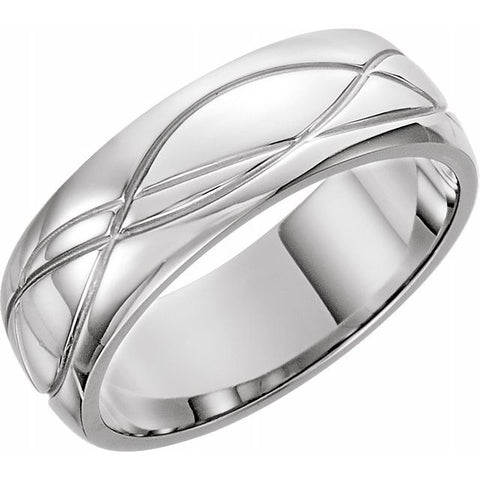 Platinum 8 mm Grooved Band Size 7 - 1WeddingBand.com Div of Houston Jewelry