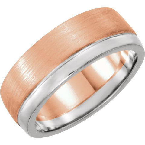 14K Rose/White 6.75 mm Flat Edge Band with Polished & Satin Finish Size 11 - 1WeddingBand.com Div of Houston Jewelry