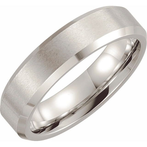 Cobalt 6 mm Beveled-Edge Band with Satin Finish Size 10.5