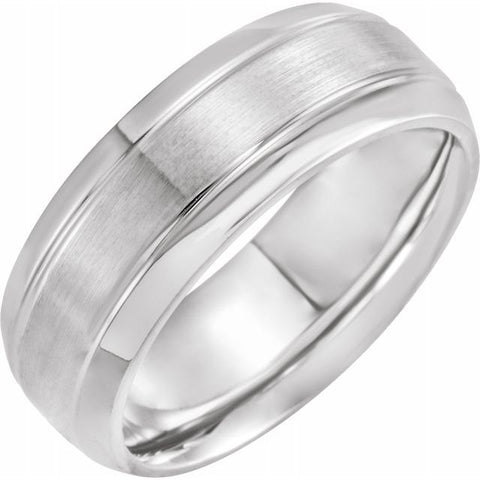 Platinum 8 mm Grooved Beveled-Edge Band Size 19