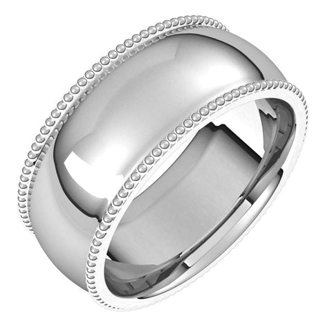 Sterling Silver 8 mm Beaded Comfort-Fit Band