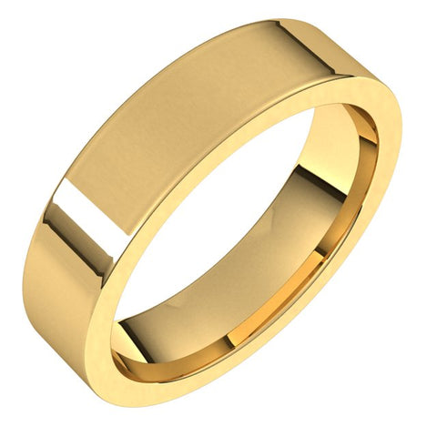 14K Yellow 5 mm Flat Comfort Fit Band Size 6 - 1WeddingBand.com Div of Houston Jewelry