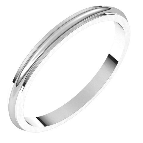 18K White 2 mm Half Round Edge Band Size 6.5