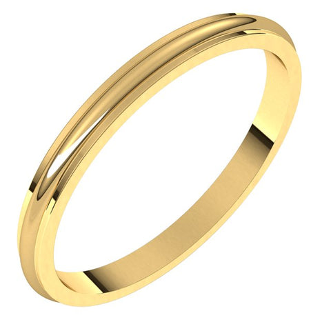 10K Yellow 2 mm Half Round Edge Band Size 7