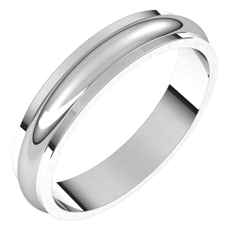 18K White 4 mm Half Round Edge Band Size 10.5