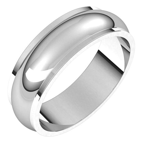 18K White 6 mm Half Round Edge Band Size 11.5