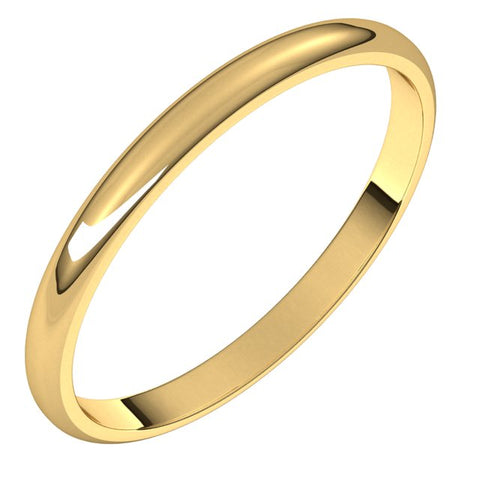 18K Yellow 2 mm Half Round Light Band Size 4