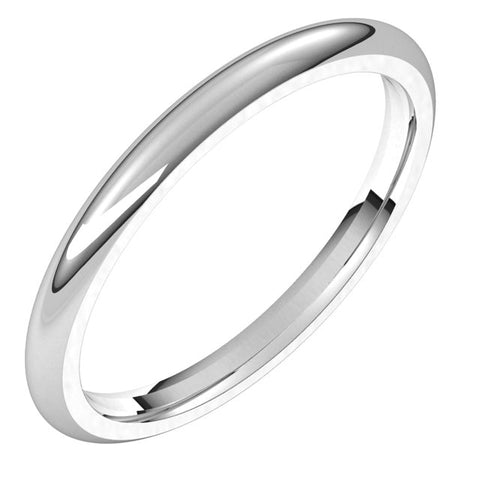 10K White 2 mm Half Round Comfort Fit Band Size 3