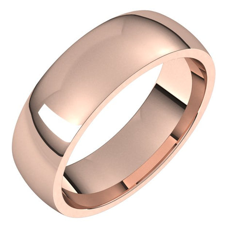 14K Rose 5 mm Half Round Comfort Fit Light Band