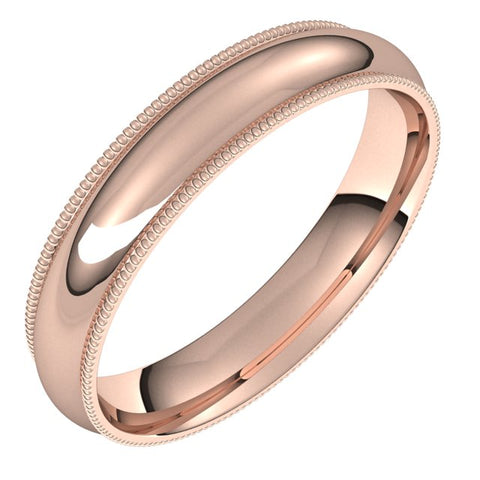 10K Rose 4 mm Milgrain Half Round Comfort Fit Band Size 12