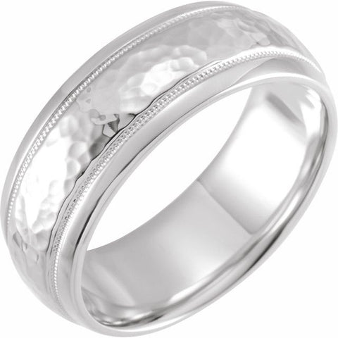Platinum 8 mm Half Round Band with Hammer Finish & Milgrain Size 20