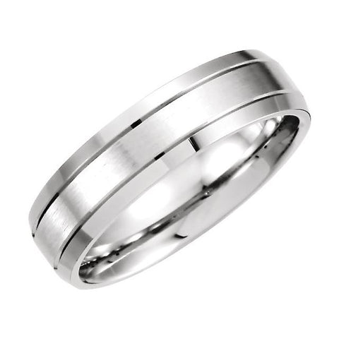 Palladium 6 mm Grooved Beveled-Edge Band Size 13.5
