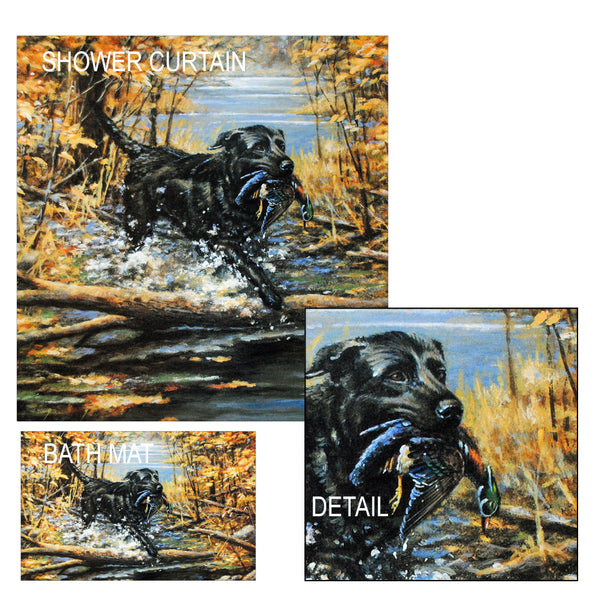 Black Lab & Wood Duck Shower Curtain and Bath Mat