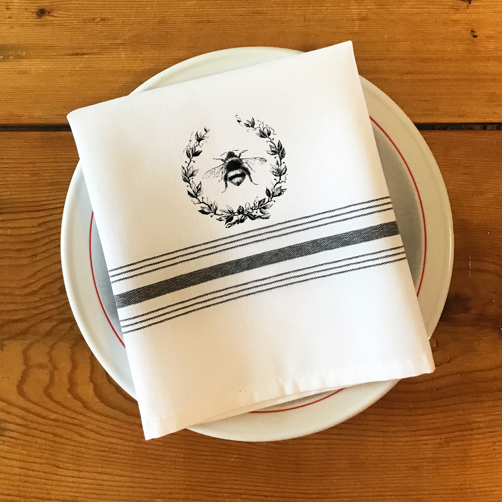 Bistro/Farmhouse Napkin with Black Stripes and French Style Bumble Bee