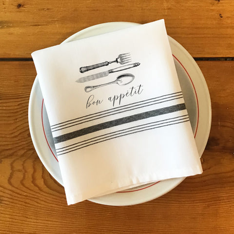 Bistro/Farmhouse Napkin with Black Stripes - Silverware, Bon Appetit