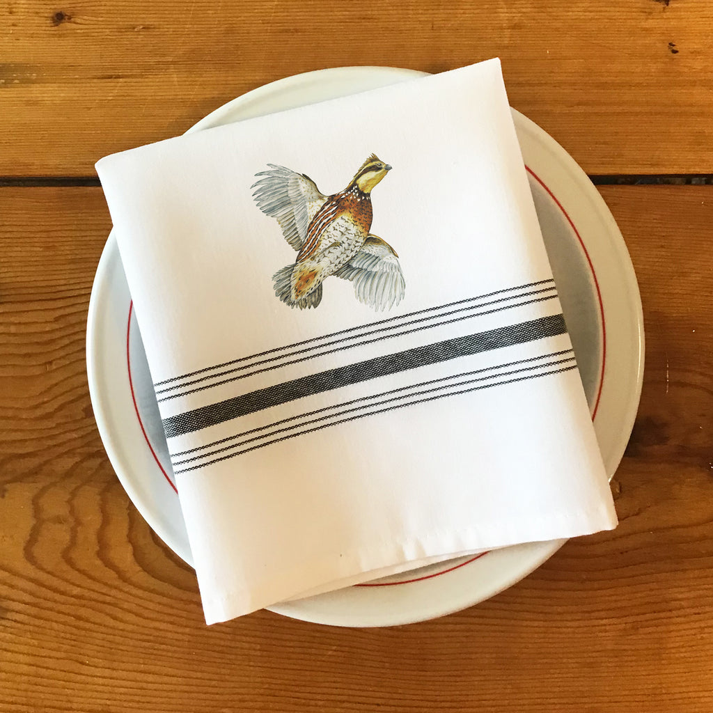 Bistro/Farmhouse Napkin with Black Stripes -Bobwhite Quail