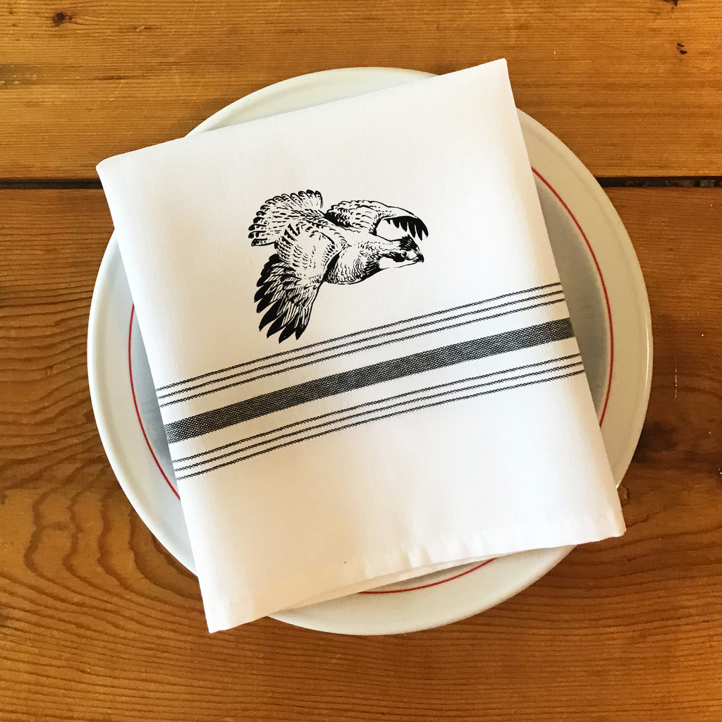 Bistro/Farmhouse Napkin with Black Stripes - Bobwhite Quail