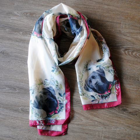 Long Skinny Scarves, All Over Print - Black Lab