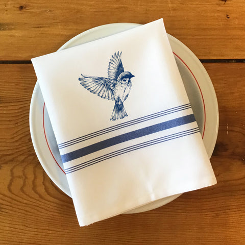 Bistro/Farmhouse Napkin with Blue Stripes - Bird