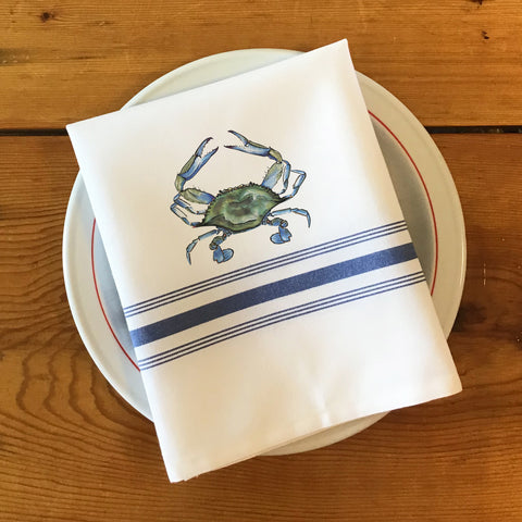 Bistro/Farmhouse Napkin with Blue Stripes - Crab, Crawfish, Shrimp