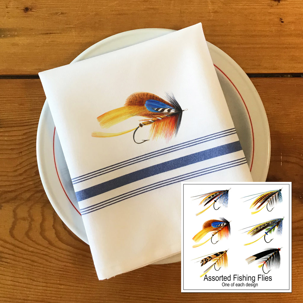 Bistro/Farmhouse Napkin with Blue Stripes - Assorted Fishing Flies