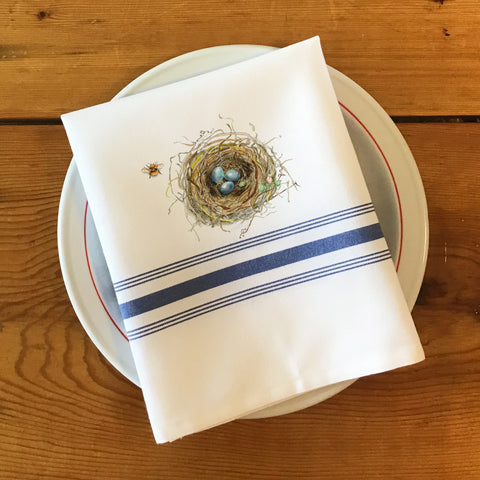 Bistro/Farmhouse Napkin with Blue Stripes - Bird's Nest