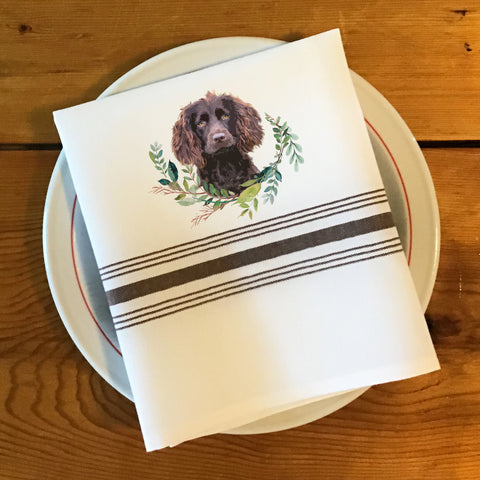 Bistro/Farmhouse Napkin with Brown Stripes - Boykin Spaniel