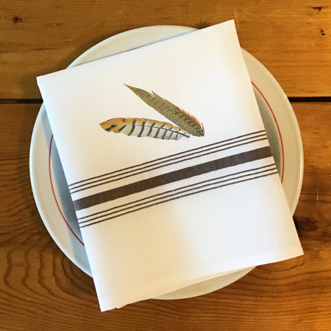 Bistro/Farmhouse Napkin with Brown Stripes - Pheasant Feathers