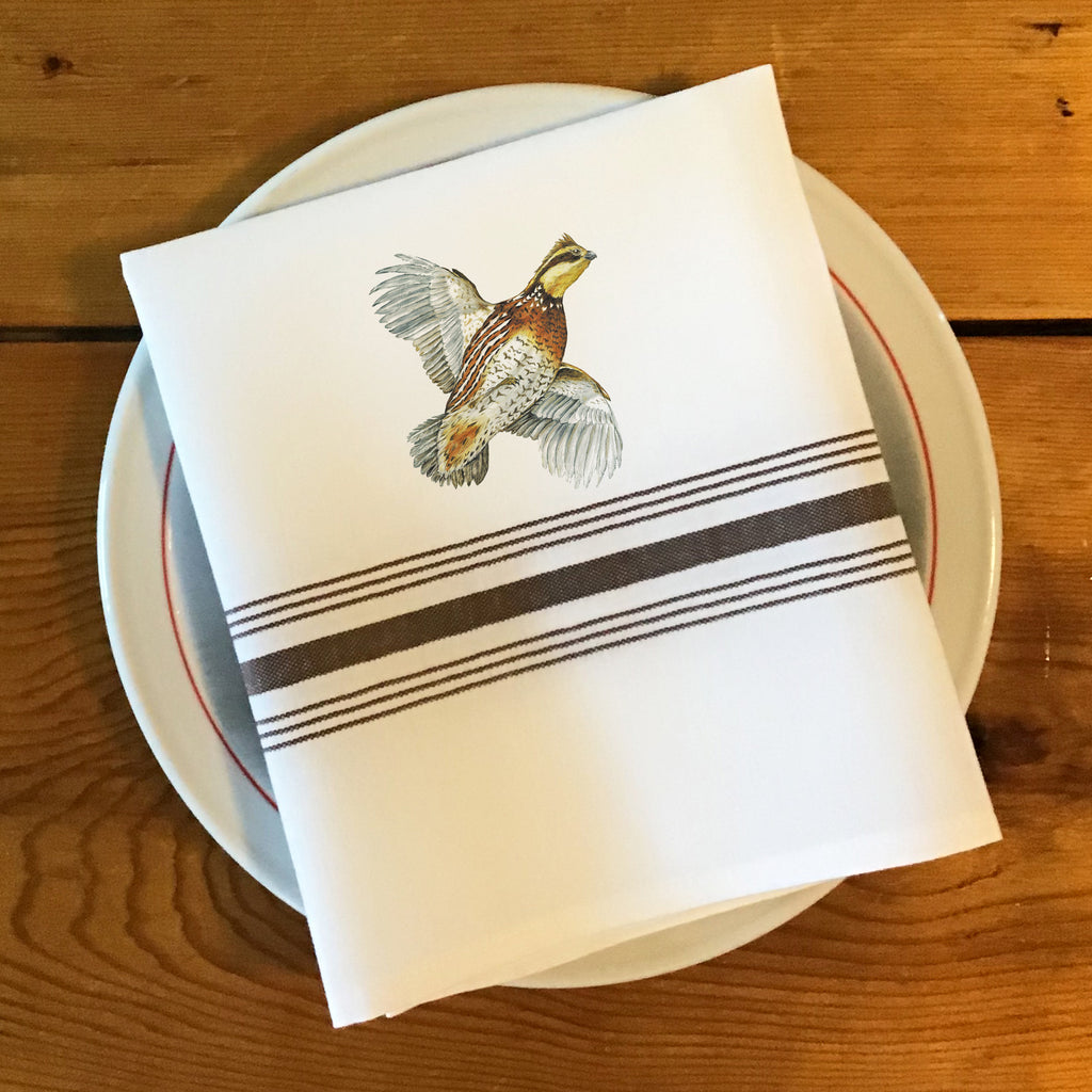 Bistro/Farmhouse Napkin with Brown Stripes - Bobwhite Quail