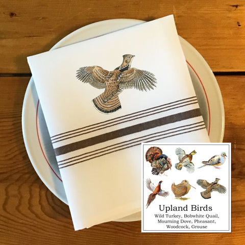 Bistro/Farmhouse Napkin with Brown Stripes - Upland Birds