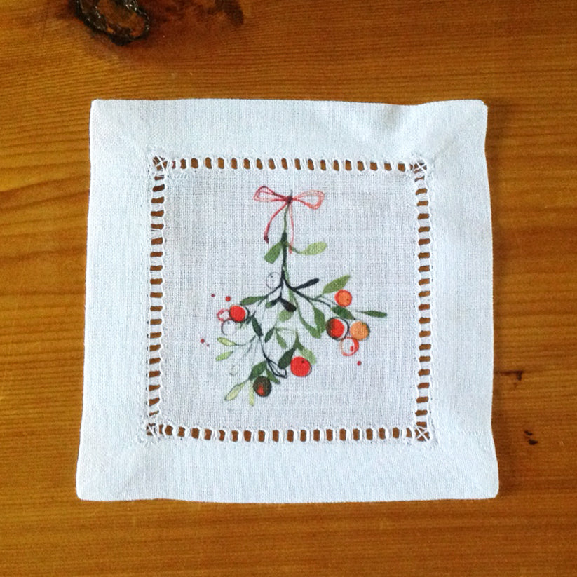 White Hemstitch Cocktail Napkins- Christmas Mistletoe, Set of Six