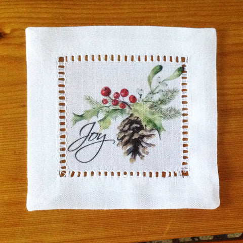 White Hemstitch Cocktail Napkins- Christmas Pinecone, Set of Six