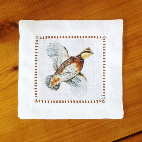 White Hemstitch Cocktail Napkins- Bobwhite Quail, Set of Six