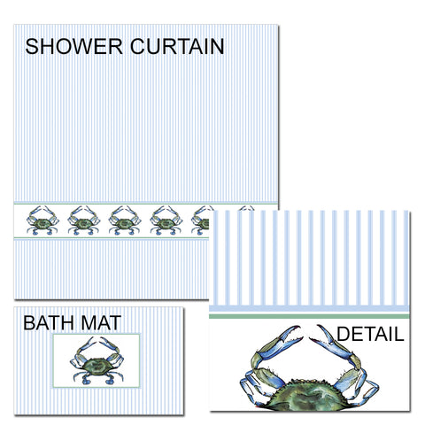 Blue Crab Shower Curtain and Bath Mat